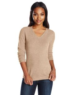 Sag Harbor Women's V-Neck Basic Cashmerlon Sweater, Acorn Heather, X-Large