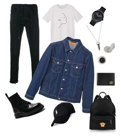 """Back to campus style"" by rayaassya on Polyvore featuring Off-White, MANGO, Movado, Tateossian, MANGO MAN, Dr. Martens, Polo Ralph Lauren, Mulberry, Versace and Gucci"
