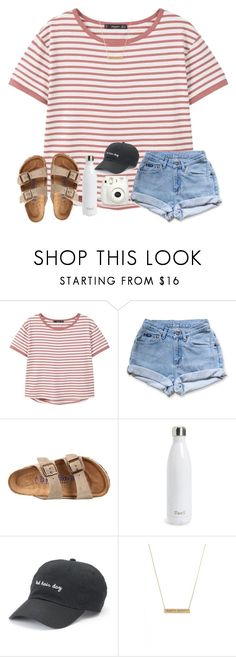 """stripes"" by ctrygrl1999 ❤ liked on Polyvore featuring MANGO, Levi's, Birkenstock, S'well, SO, BaubleBar and Fujifilm"