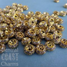 New Listing ~ Antique Gold Czech Crystal Rhinestone Rondelle Spacer Beads - 9mm x 5mm - Vintage Shabby Style - 10pcs - Central Coast Charms