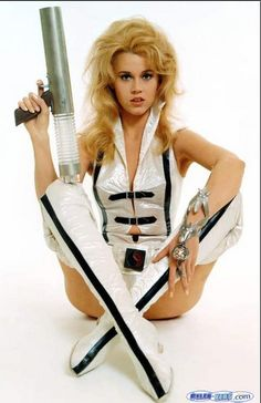 "Jane Fonda in one of the futuristic (yet mod) costumes from ""Barbarella""."