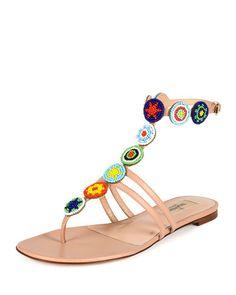 Beaded Medallion Thong Sandal, Skin Sorbet