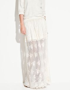 LONG EMBROIDERED SKIRT - Skirts - TRF - ZARA $79.90 USD