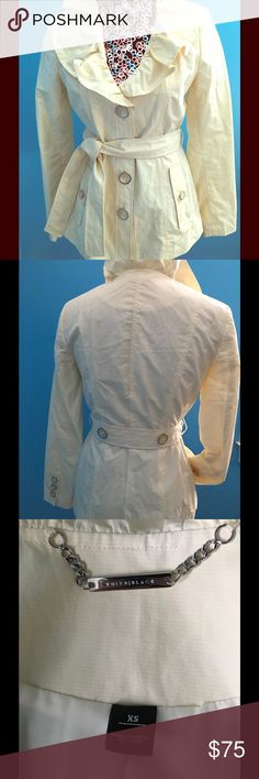 Like New! White House Black Market Cream Jacket Great Condition... only worn a few times! Cute, lightweight cream jacket with ruffled collar. Makes a statement! White House Black Market Jackets & Coats