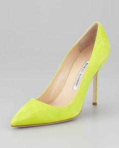 BB Suede Pointed-Toe Pump, Lime Green by Manolo Blahnik at Neiman Marcus.