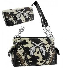Cow Print Concealed Handgun Carrying Western with Metal Cross Guns Handbag PURSE with matching wallet  BLACK -- More info could be found at the image url.