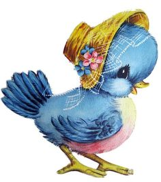 Vintage Bluebird wearing a bonnet - pretty on a card or baby page