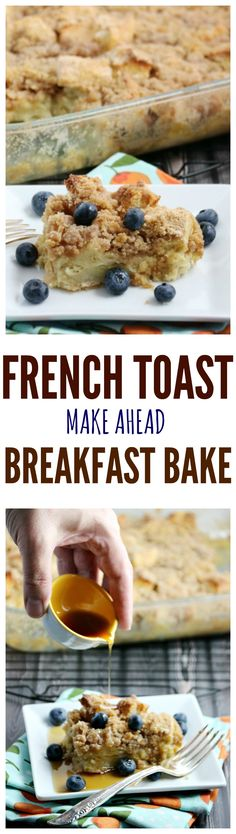 Make-Ahead Cinnamon French Toast Breakfast Bake - an easy recipe for brunch, a baby or bridal shower or any occasion. Since you can make it ahead you just have to bake it in the morning. The best breakfast bake I've tried!