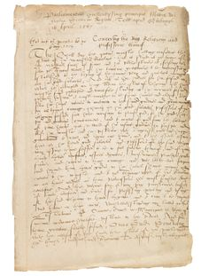 MARY STUART, Ms. Parliament document (contemp. copy). Edinburgh 1567.