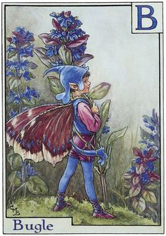 Printed it is by the artist/author/illustrator Cicely Mary Barker. The Bugle Flower Fairy was was one of Cicely Mary Barker's Alphabet Flower Fairies. Cicely Mary Barker, Kobold, Fairy Pictures, Vintage Fairies, Beautiful Fairies, Flower Fairies, Fantasy Illustration, Fairy Art, Fantasy Art