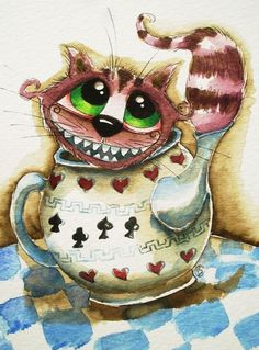 ACEO Print Watercolor Lucia Stewart folk Alice in Wonderland Cheshire cat teapot #IllustrationArt