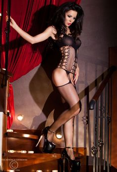Black Fishnet Strappy Garter Bodystocking