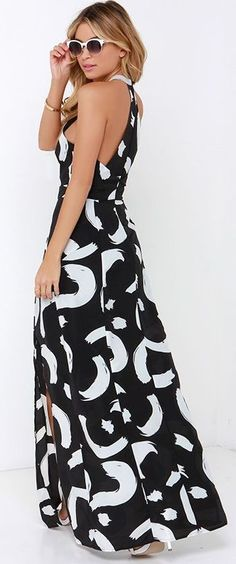 I. Madeline Be So Bold Ivory and Black Print Maxi Dress