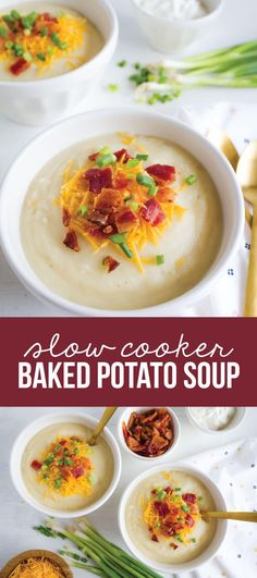 You Have Meals Poisoning More Normally Than You're Thinking That Slow Cooker Baked Potato Soup - Perfect Main Dish Recipe For A Chilly Day Have This Great Soup Recipe On Hand Beef Soup Recipes, Slow Cooker Recipes, Dinner Recipes, Healthy Recipes, Crockpot Recipes, Aloo Recipes, Milk Recipes, Copycat Recipes, Potato Recipes