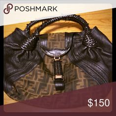 Authentic large fendi spy bag Authentic spy bag canvas and leather great bag just one handle is starting to unravel shown in picture fendi Bags Satchels