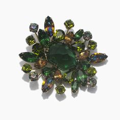 Green Brooch // Vintage Rhinestone Pin // Brooch by ArtDecoratif, $240.00