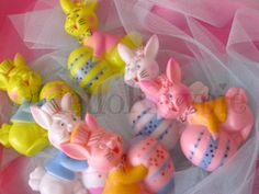 Vintage Easter Bunny Couple Cake Toppers  6 pieces by HelloKewpie, $9.50