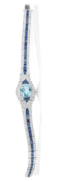 Art Deco Platinum, Aquamarine, Diamond and Sapphire Bracelet   circa 1920.