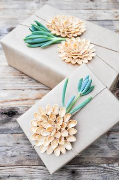 DIY A natural alternative to plastic bows.  Pistachio Shell bows make quite the statement!