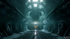 Halo 4 Concept Art - Forward Unto Dawn Cryo Bay Spaceship Interior, Futuristic Interior, Futuristic Art, Environment Concept Art, Environment Design, Blade Runner, Science Art, Science Fiction, Zbrush