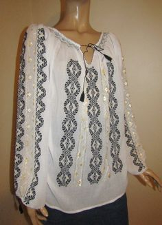 Hand embroidered Romanian peasant blouse - Black wheat / size M - L, hand stitched Romanian ethnic top Peasant Blouse, Kimono Top, Black Blouse, Hand Stitching, Cross Stitch Patterns, Costume, Abs, Women, Style