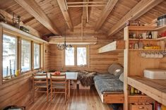 Kämppä This 118 small Norwegian ski cabin comfortably accommodates a family of four. - Living in Tiny Cabins, Tiny House Cabin, Wooden Cabins, Cabins And Cottages, Tiny House Living, Cabin Homes, Dry Cabin Living, Tiny Houses, Small Cottages
