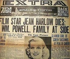 Newspaper Front Pages, Vintage Newspaper, Jean Harlow Death, Acute Renal Failure, Kidney Failure, Newspaper Headlines, Joan Crawford, Yesterday And Today, Old Actress