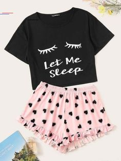 To find out about the Graphic Print Top & Heart Print Frilled Shorts PJ Set at SHEIN, part of our latest Pajama Sets ready to shop online today! Girls Fashion Clothes, Teen Fashion Outfits, Cute Fashion, Outfits For Teens, Emo Outfits, Fashion Dresses, Cute Pajama Sets, Cute Pjs, Cute Pajamas
