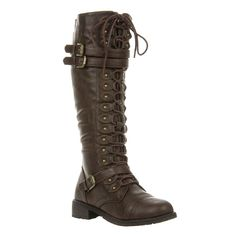 Featuring leatherette upper, round toe, lace up front, three buckle straps, chunky flat heel, side zipper closure, stitching detail, and finished with lightly padded insole. - Material: Vegan Leathere