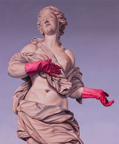 In his latest series Monumental Nobodies, Australian artist Matthew Quick paints images of famous sculptures, but adds a mischievous modern twist to the classic statues by integrating modern gadgetry and pop culture references into the picture. Banksy, Famous Sculptures, Greek Statues, Les Religions, Pop Culture References, Photocollage, Domestic Goddess, Freelance Graphic Design, Arte Pop