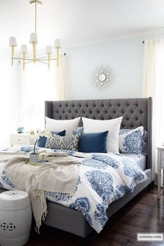 51 Cozy Grey Bedroom Designs With Upholstered Tufted Headboard T Funky Diy