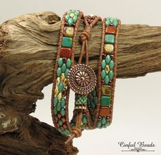 TRIPLE WRAP LEATHER Bracelet-Picasso Superduos-Copper Superduos-Czechmate Tile Beads-Boho Bracelet-Hippie Bracelet-Wrap Bracelet-(TW8)