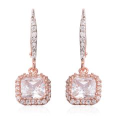 WHITE DIAMOND SIMULATE LEVERBACK 14K ROSE GOLD OVER STERLING SILVER EARRINGS #L2D #LEVERBACK