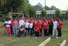 Several Atlanta Falcons players and volunteers took part in yesterday's Rise Up Atlanta event at Washington Park. #RiseUp