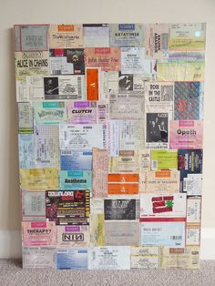 Gig Ticket Collage | Phizzychick | Finally got round to doing something with my drawer full of gig tickets. Some of them anyway!