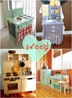 Inspiration for DIY play kitchen for kids! Want to Make a Play Kitchen to Match Your Decor? Check Out These Sweet DIY Play Kitchen Ideas! Lots of Easy DIY Play Kitchen Ideas and Upcycle Inspiration Play Kitchen Diy, Kitchen Sets For Kids, Diy Kitchen Projects, Toy Kitchen, Kitchen Ideas, Play Kitchens For Toddlers, Diy Crafts For Girls, Diy For Kids, Kids Fun