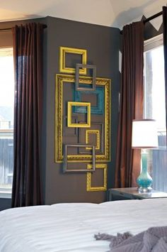 Inexpensive, colourful frames painted to make up the perfect piece of wall art. Love the bold Yellow and turquoise blue. Easy art for the DIY experts