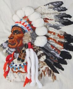 Finished-Needlepoint-Indian-Chief-Princess-Southwest-Vintage-Sunset-Crewel
