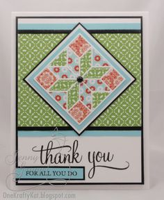 handmade quilt card ... quilt block die to cut the small pieces ... luv the spring colors ... like how the block fits into the card ...