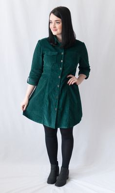 Abi's Rosa Shirt Dress in forest green needlecord - sewing pattern by Tilly and the Buttons