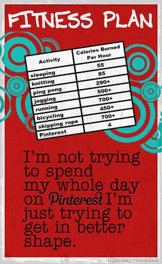 pinterest diet program. @Julie Mannon and @Michelle Guest will want to try wiggling their fingers just a little more to eek out another calorie burned per hour. Me... I'ma gonna get a 2nd mouse and try to double my calorie exertion.