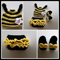 Baby Bumble Bee Costume, Baby Girl Clothes, Crochet Baby Outfits, Baby Prop Costumes, Pretty baby girl clothes