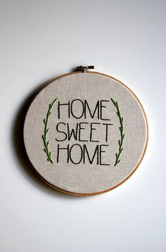 Home Sweet Home . Hand Embroidery Wall Art . Wall Decoration
