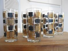 Black and gold highball glasses