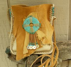 NATIVE SKIES deerskin leather Purse Medicine Bag / Spirit Pouch / Shaman Bag…