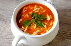 Tomato Spinach Orzo Soup: a twist on your favorite tomato soup // A Cedar Spoon