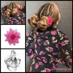 Four french braids into messy buns with a beautiful flower from the webshop www.goudhaartje.nl (worldwide shipping). Hairstyle inspired by: @toddlerhairideas (instagram) #hair #hairstyle #braid #braids #hairstylesforgirls #plait #trenza #peinando #прическа #pricheska #ヘアスタイル #髮型 #suomiletit #zöpfe #frisuren #vlegsels #fläta #fletning #beautifulhair #gorgeoushair #stunninghair #hairaccessories #hairinspo #braidideas #goudhaartje