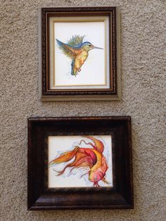 Watercolor hummingbird and fish I painted yesterday, 8x10