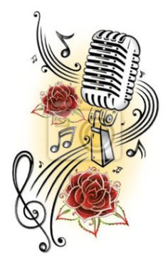 Microphone and Music with Roses Music Notes Art, Music Music, Harley Davidson Images, Graffiti, Note Tattoo, Music Drawings, Typography Alphabet, Canvas Painting Tutorials, Music Tattoos
