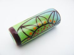 Moogin Beads - Enamelled abstract floral BHB barrel shaped focal bead- SRA by mooginmindy on Etsy